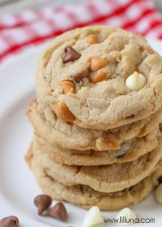 Super soft, delicious and chewy Triple Chocolate Chip Cookies { lilluna.com }