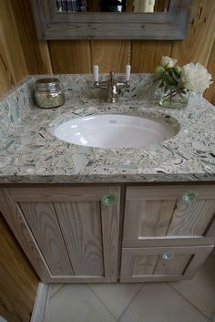Oyster and glass countertop by Posh Living, LLC. I like the tan-grey mix with older looking wood accents Coastal Bathrooms, Boho Bathroom, Modern Bathroom Decor, Small Bathroom, Bathroom Tubs, Bathroom Ideas, Country Countertops, Glass Countertops, Countertop Materials