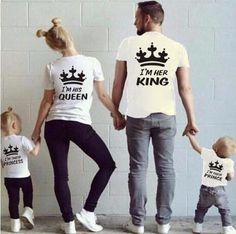 Family Matching Clothes Short Sleeve T -Shirts King Queen Couples T shirt Crown Printed Funny Tops