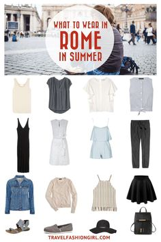 What to wear in rome: italy packing list travel chic список Italy Packing List, Summer Packing Lists, Packing For Europe, Packing List For Travel, Packing Tips, Travel Tips, Europe Travel Outfits, Travel Outfit Summer, Summer Travel