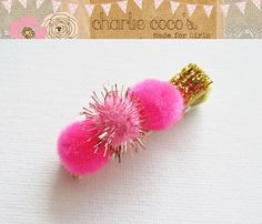 Girls/Baby Hair Clip Pink and Gold Sparkle www.charliecocos.etsy.com