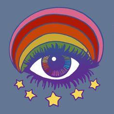 Rainbow Eye Art Print Illustration by Dawn Aquarius – retro Retro Kunst, Retro Art, Art And Illustration, Illustrations, Pop Art, Retro Radios, Hippie Art, Psychedelic Art, Aesthetic Art