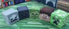 Minecraft mob heads in plastic canvas
