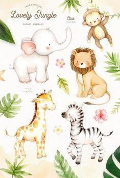 Lovely Jungle Safari Animals ad: Clipart by everysunsun on elephant monkey giraffe lion zebra greenery clipart for children Jungle Animals, Forest Animals, Woodland Animals, Baby Animals, Cute Animals, Jungle Safari, Animal Art Projects, Nursery Art, Nursery Decor