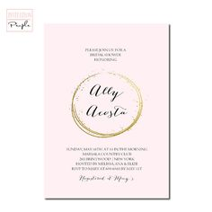 BLUSH PINK GOLD Faux Endless Circle Gold Bridal Shower Invitation Gold Free priority shipping or diy - If you are shopping our site you are planning an engagement party, bridal shower, wedding or are now expecting a baby and need to announce it to Modern Invitations, Glitter Invitations, Bridal Shower Invitations, White Bridal Shower, Gold Bridal Showers, Pink And Gold, Blush Pink, Engagement Party Planning, Expecting Baby