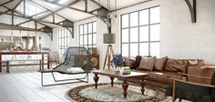 Industrial Chic Living Room Design Ideas - I want to live here in some super cool location.