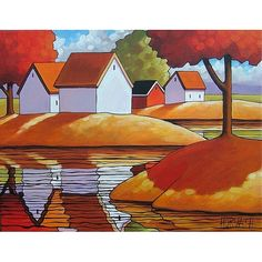 PAINTING ORIGINAL Folk Art Autumn Tree Cottage by SoloWorkStudio, $189.00