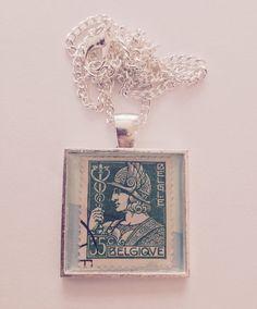 Postage Stamp Pendant  Vintage  Belgium  by WellingtonStreet