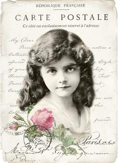 Vintage girl collage p1022 FREE