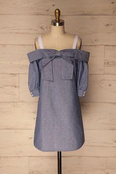 1861 - Ligoneri Blue Striped Off-Shoulder Shift Dress Hijab Fashion, Boho Fashion, Fashion Outfits, Unique Dresses, Short Dresses, Tea Dresses, Prom Dresses Montreal, Cool Outfits, Summer Outfits