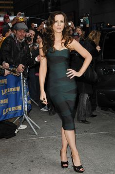 Kate Beckinsale wearing a long bandage dress, 2012