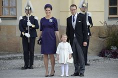 Crown Princess Victoria expecting her second child with her husband, Prince Daniel and their daughter Princess Estelle at the baptism of Prince Nicolas son of her sister, Princess Madeleine and Chris O'Neill.