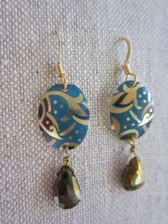Nouveau Blue Recycled Vintage Tin Earrings w/ by SaffronCreations, $32.00