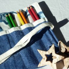 Pencil Roll, Waldorf Lyra Pencil Holder or Makeup Brush Organizer by LilaKids, $22.00