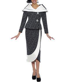 Look what I found on #zulily! Black & White Abstract Portrait-Collar Blazer & Skirt - Women #zulilyfinds