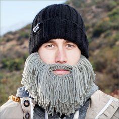 BeardHead ニットキャップ バーバリアン グレー - 気は優しくて力持ち。ワイルドなバーバリアンやドワーフに変身できる暖か防寒ヒゲ帽子 - fu-bi(フウビ)