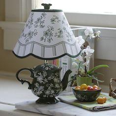 Black teapot lamp