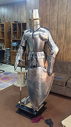 NauticalMart Medieval Knight Full Suit Of Armor Made of good quality steel. Size : 6 feet Armor weight 32 kg approx 18 gauge steel Medieval knight suit of armor templor combat body armor stand. Stand Is Not Included Manufactured by : NAUTICALM.