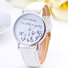 Casual Watches for Women Girl Student Whatever I am Late Anyway with P – marketplacefinds