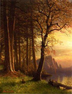 Oil painting Albert Bierstadt - Sunset in California - Yosemite stunning view Albert Bierstadt, Paintings I Love, Love Painting, Poetry Painting, Landscape Art, Landscape Paintings, Landscapes, Yosemite California, Yosemite Valley