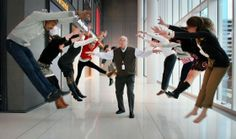 Carl unleashes his powers in the lobby of NPR's headquarters in Washington, D.C. -- Love this photo of Carl Kasell. Might be fun to do something like this for a personality profile or division page...