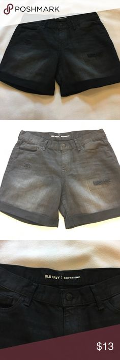 New distress black shorts Boyfriend style black distressed shorts, great for spring and summer. This shorts are not as long as bermuda, but they're not super short either. Old Navy Shorts Jean Shorts
