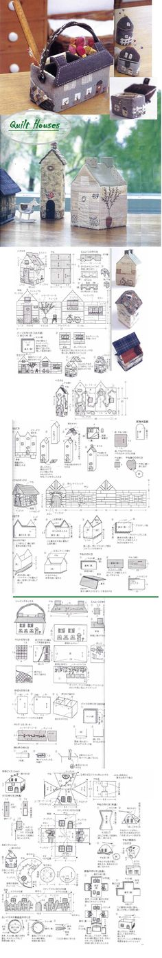 rangement pour article de couture Quilt House (from japanese book My Quilt… Quilting Projects, Sewing Projects, Sewing Hacks, Fabric Crafts, Sewing Crafts, Diy Crafts, Felt House, Japanese Patchwork, Fabric Boxes