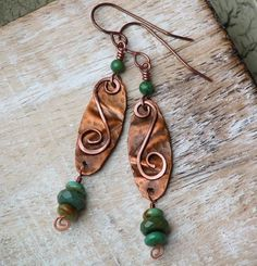 Rustic Green Turquoise and Copper Artisan Earrings , Hammered, Folded | OwlHollowStudio - Jewelry on ArtFire