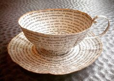 Old-books-teacups - repurposed paper