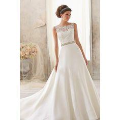 Elegant Sleeveless Boat Neckline Grenadine and Lace Wedding Dress - Star Bridal Apparel, #elegant, #sleeveless, #boatneck, #lace, #wedding, #dress, #bridal, #marriage