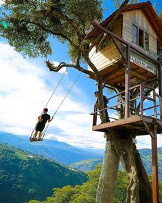 Calling all adrenaline and adventure lovers: has to be on your bucket list! Swing at the Edge of the World, in Baños, Ecuador. Be sure to checkout their feed. They are doing an awesome giveaway! Photo by travel via . Beautiful Tree Houses, Cool Tree Houses, Tree House Designs, Tree Tops, In The Tree, Play Houses, Future House, Adventure, Vacation