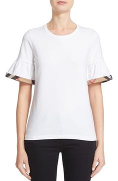 Burberry Check Trim Bell Sleeve Tee available at #Nordstrom
