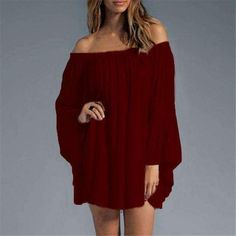 Off Shoulder Flare Sleeve Mini Dress