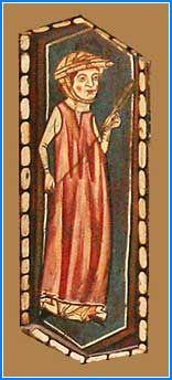 En la primera tabica superior se representa una mujer de pie que está hilando. Viste gonela y sobre ella cota amplia sin mangas. Toca rizada enrollada a la cabeza y barboquejo. Sujeta el huso con la mano izquierda en alto mientras pasa el hilo por la derecha.