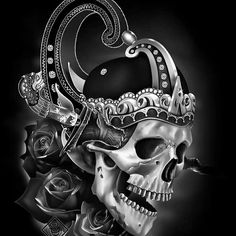 King Tattoos, Skull Tattoos, Tattoo Studio, Og Abel Art, Joker Cartoon, Aztecas Art, Mexican Artwork, Skull Model, Pinstriping Designs