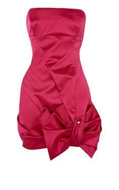 Karen Millen Fun Satin Bow Dress Fuchsia