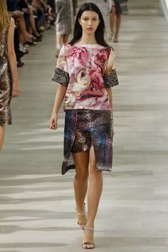 preen spring '13  the concept I like...not a lover of skin prints.  photographic floral print blocked with a snake skin.  the skin being color blocked itself.