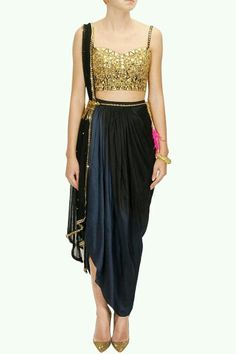 Buy PAPA DON'T PREACH Black mirror embroidered choli with black ombre dyed wrap skirt and dupatta online in India at best price.Papa Don't Preach presents Black mirror embroidered choli with black ombre dyed wrap skirt and dupatta Dhoti Saree, Anarkali, Lehenga, Ethnic Fashion, Asian Fashion, Look Fashion, Fashion Outfits, Indian Dresses, Indian Outfits