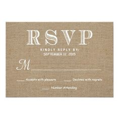 Burlap RSVP Rustic Typography Wedding Reply Invite