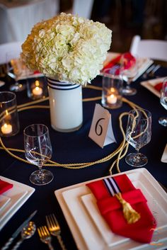 Shilshole Bay Beach Club Wedding Tasting Event - nautical wedding table in blue, red & white