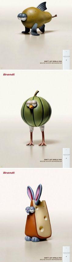 Don't let smells mix / #advertising about Brandt refrigerator #pub #jetudielacom