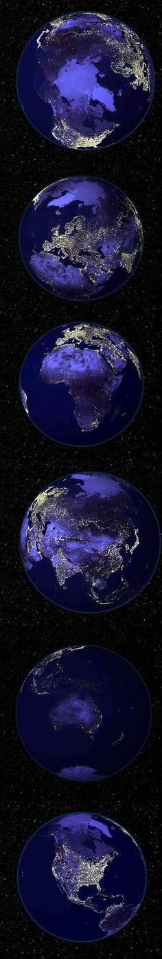 Earth at night showing city lights and areas of greater population. From NASA's Astronomy Picture