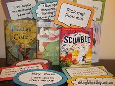 """Pick Me"" Shelf Talkers---Cute idea! Cute for an interactive book review/ book recommendation area"