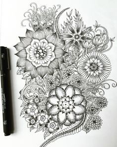 Floral drawing.  2016 New Year illustration #drawing #illustration #flower #zentangle #art #pattern