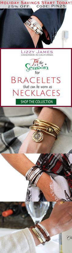 Great Holiday Gift Ideas! 25% OFF sale + FREE Shipping for all 1st time buyers with coupon code PIN25 - let Lizzy James Jewelry help you find your gifts this Holiday Season! Featuring leather charm bracelets & cotton cord wrap bracelets that can also be worn as necklaces, our designs fit all wrist sizes from petite to plus size.  Proud to be made in the USA!  #lizzyjames