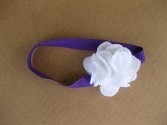 Purple Headband with White Flower
