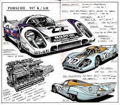 Werner Bührer illustration of Porsche 917 Porsche Autos, Porsche Cars, Porsche Modelos, Sport Cars, Race Cars, Carros Suv, Le Mans 24, Automobile, Car Illustration