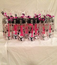 Personalized water bottles. Great team gifts. Gymnastics, dance, sports, etc. Really cute