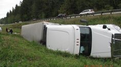 Banana truck overturns on I-5. Driver Fell Asleep at the Wheel.  Remember: Quality Sleep is Vital to your personal safety and the safety of others.