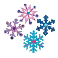 """Foam Jumbo Snowflakes - 8"""" diameter, 24 for $6.25 (they're just colored -- you add your own crap)"""